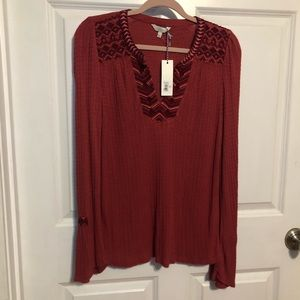 NWT Lucky Brand Embroidered Boho Rose Top
